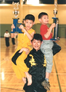 [Master Ian Lee with sons Bruce Lee and James Lee]